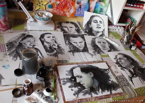 Just got Loki'd - Workspace full of Loki inks by RoryonaRainbow