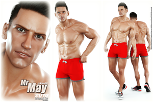 Calendar Guyz - Mr May 2018 for Genesis 8 Male by Kaos3d