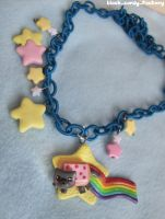 Nyan Cat necklace: starry night by gothic-yuna