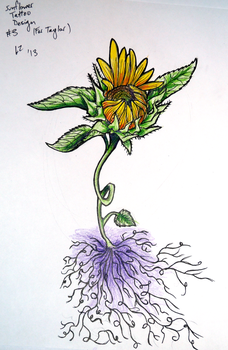 Sunflower Tattoo Design 3 by Zeezster