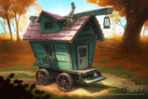 Wagon in the woods by JordanKerbow
