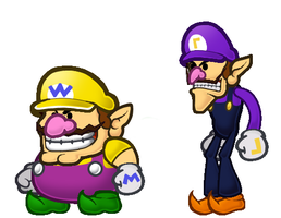 Paper Wario and Waluigi by ProfessorVermo