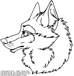 Free Wolf Headshot Avatar Lineart by forumroleplay