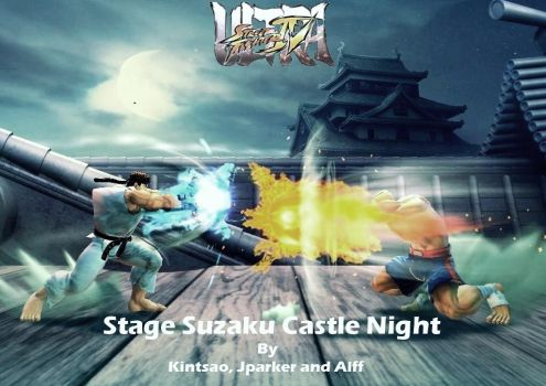 Stage Mod USFIV AE PC: Suzaku Castle Night by AlfStatuary