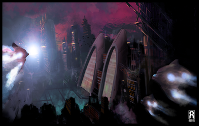 SPEED PAINT - Sci-Fi City Scape by VR-Robotica
