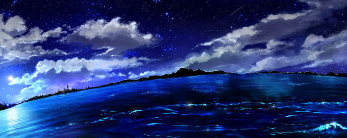 Stock Night Sky Ocean - free by Rin-Shiba