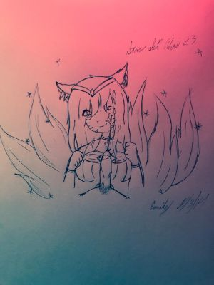 star guardian ahri sketch 2 (NSFW over 18 please) by AnoldMemory
