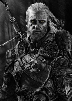 Geralt - The Witcher 3 Pencil Portrait by TricepTerry