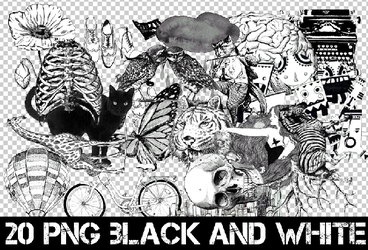 2O PNG BLACK AND WHITE + by Discopada