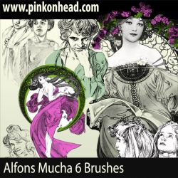 Alfons Mucha Brushes by pinkonhead
