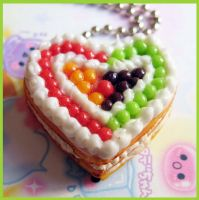 Fruit Heart Cake Necklace by cherryboop