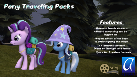 (DL)(SFM)(GMOD) Pony Traveling Packs by Dracagon