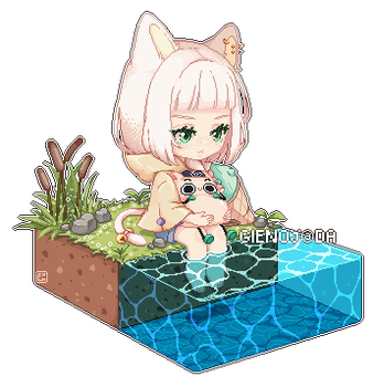 Pixel: By the pond by GienoY