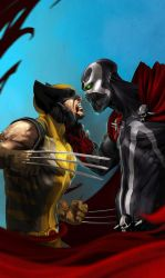 wolverine vs spawn by soft-h