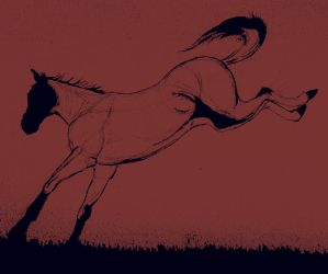 Jumping horse - in red by casinuba