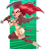 Red Sonja attacking by JakkeV