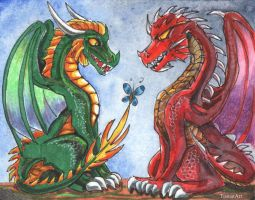 HoMM3: Green and Red Dragons by TiamatART