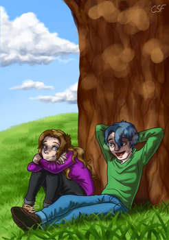 Commission: Resting by the Tree by CartoonSilverFox