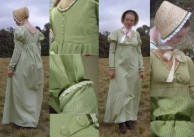 Regency Day Dress and Bonnet by larrissma
