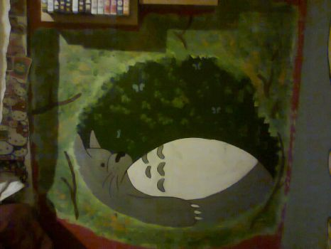 totoro wall mural by 123deaththekid