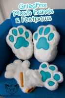 Griegfoxs hands and feetpaws by FurryFursuitMaker