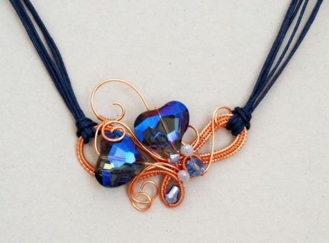Copper necklace with blue crystal hearts by IanirasArtifacts