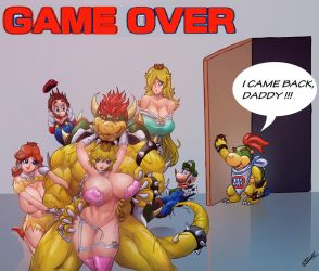 Peach e Bowser - Game Over... Mario! by RedHotWhiteHeat