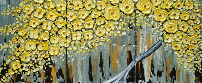 Yellow Blossoms in the Rain by AmberElizabethArt