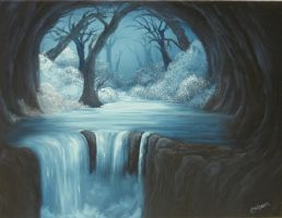 Winter Waterfall by crazycolleeny