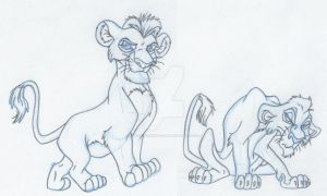 Cubs Mufasa and Scar Animation Drawing by Animator-who-Draws