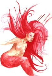 Red Mermaid by EvilHateYouAll