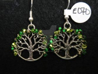 Green Beaded Tree of Life Earrings by TheCraftyMaiden