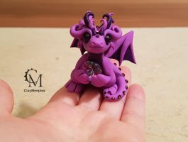 violet dragon with gemstone by claymeeples