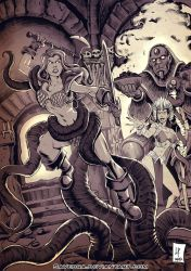 Red Sonja in the hall of the ancient gods by Savedra