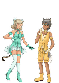Mew Ra and Mew Thor by TheLocked