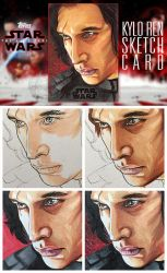 Kylo sketch card process by BikerScout