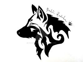 Tribal Wolf Head by Peace-Wolf