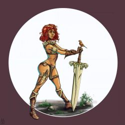 Red Sonja and the red robin by Gizmoatwork