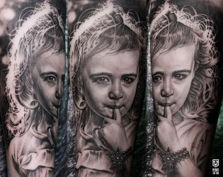 Realistic Girl Portrait Tattoo by Remistattoo