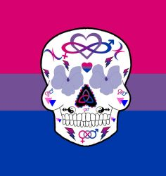 Bi pride sugar skull by Little-Horrorz