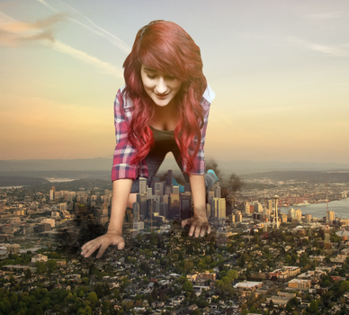 Giantess Kitty Crawls Over the City by dochamps