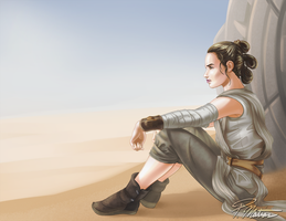 Rey overlooking the sandy dunes of Jakku by BW-Straybullet