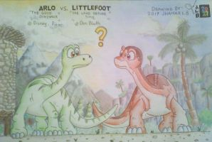 Both Apatoosaurus Eh? Arlo and Littlefoot by SammfeatBlueheart