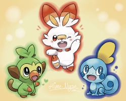 Galar Starter Trio: Grookey, Scorbunny and Sobble by Hime--Nyan