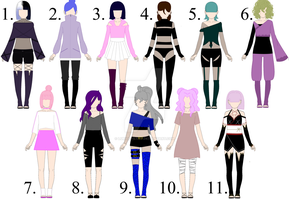Naruto Female-Outfits Adoptables [All Open] by ValeriaLurya