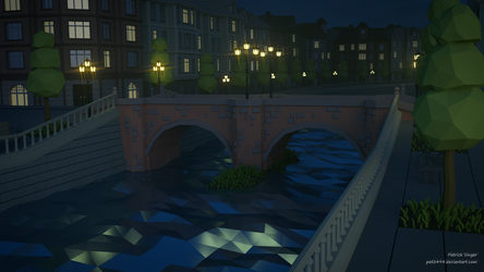 Stonebridge at Night (LowPoly) by pat2494