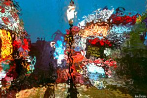 Neon Reflections in Rainfall Mirrors by nosuchthingasnothing