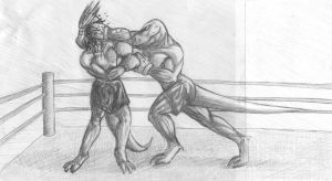 Boxing lizard men - Commission by shinotenshi81