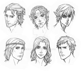 DragonAge 2 face sketches by dathron