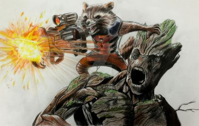 Rocket and Groot by Shadow3217